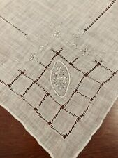 Vtg Madeira Style Embroidered White Hankie Wedding Bridal Floral Four Corners