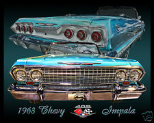 1963 Chevrolet IMPALA SS Convertible, BLUE,  Refrigerator Magnet, 40 MIL