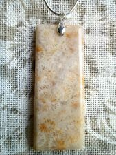 Beautiful Rectangular Fossill Agate Pendant with Chain. Free P&P