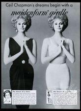 1960 Ceil Chapman black dress photo Maidenform bra girdle vintage print ad
