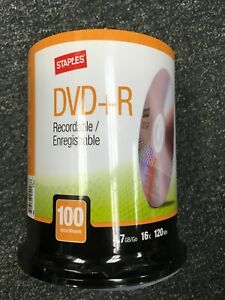 New, Sealed, Staples DVD+R Recordable 16x DVDs