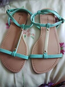 Bnwt Ladies Turquoise And Gold Sandal New Look Size 6 wide  fit (h23)