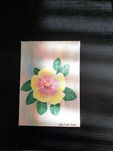 Original floral hibiscus Rainbow Sherbet bloom by UK artist