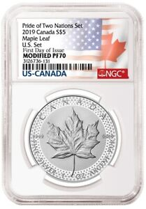 2019 CANADA S $5 MAPLE LEAF NGC MODIFIED PF70 FIRST DAY OF ISSUE J98