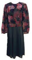 Real VINTAGE Black Rose VELVET DRESS By MAVINETTE 80s SEXY SECRETARY Pleated MED