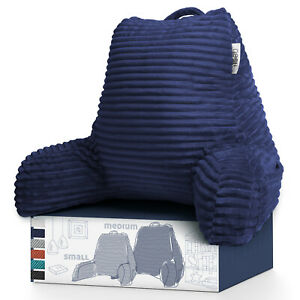 Cut Plush Striped Reading Pillow Shredded Memory Foam Bed Rest Pillow with Arms