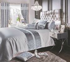 Velvet Diamonte Ribbon Faux Silk Silver Grey Super King Duvet Cover