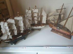 Segelschiffe 2/3 Master Holz, Stoffsegel  altes Modell  Schiff     3 Stück