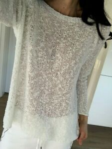 Pullover Shirt Tunika Weiß Strick Neu 36 S 38 M Basic neu