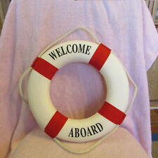 New Welcome Aboard Nautical Life Lifebuoy Ring Boat Wall Hanging Home Decor