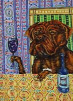Dogue de Bordeaux french mastiff Signed dog art PRINT 8x10 coffee impressionism