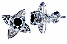 Rough Diamond Stud Earrings .925 Silver 5.48 ct Aaa Black Moissanite & Natural