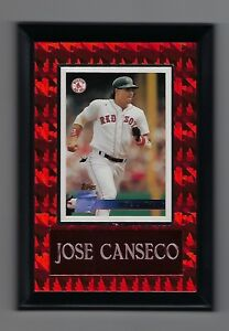 """Vintage 1990s 6.5"""" x 4.5"""" Topps Card Plaque Jose Canseco Boston Red Sox #2"""