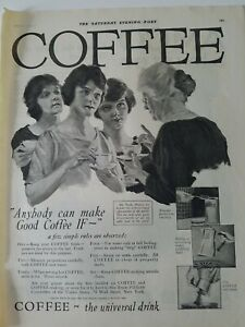 1920 Coffee the universal drink old woman gray hair chatting young vintage ad