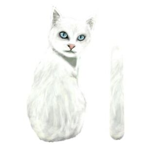 White Cat Rear Car Window Sticker With Wagging Tail To Fit On Wiper Arm