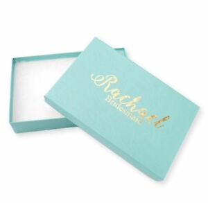 100 X CUSTOM LOGO TIFFANY BLUE JEWELLERY GIFT BOXES SILVER / GOLD FOIL NECKLACE