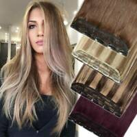 One Piece Full Head Clip In 100% Real Human Hair Extensions 5Clip On Brown US M7