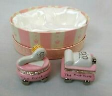 Mud Pie 2pc Set Baby Girl Princess First Curl & First Tooth Ceramic Keepsake Box