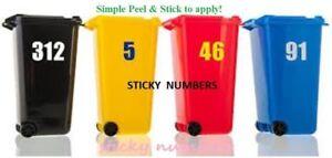2. black Wheelie Bin House Numbers Stickers Wheely Dustbin Sticker Peel & Stick,