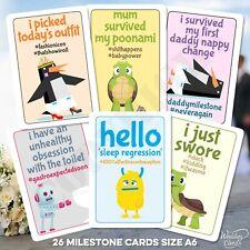 Baby Milestone Cards Funny Joke Son Daughter Boy Girl Unisex Age Favour Keepsake