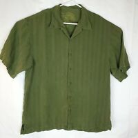 Tommy Bahama Men's XL Short Sleeve Button Up Silk Shirt Army Green Leaf Pattern
