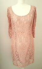 LIPSY LONDON oyster pink mesh floral LACE body con dress RUCHED SLEEVE 12 40 NEW