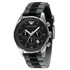 NEW GENUINE EMPORIO ARMANI AR5866 MENS CHRONOGRAPH WATCH BLACK & GREY SILICONE