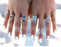 8Pcs Fashion Women Retro Vintage Boho Rings Chic Silver Ring Set Jewelry Gifts