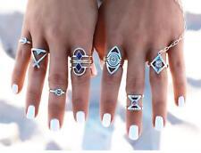 8Pcs Fashion Women Retro Vintage Boho Rings Chic Silver Ring Set Jewelry Gifts