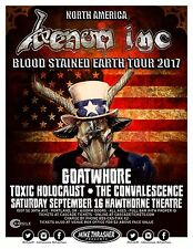 """VENOM INC / GOATWHORE """"BLOOD STAINED EARTH TOUR 2017"""" PORTLAND CONCERT POSTER"""