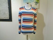 1970s Rosanna Mod Blue/Red/White Stripe Ribbed Knit Pullover Top Sz M