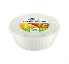 Microwave Pot Tub Round Bowl White Clear Lid Freezer Dishwasher safe 1.8L ZOOM