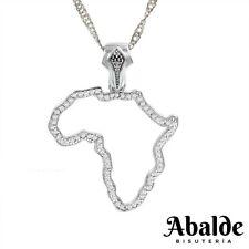 c48a10413818 Collar Colgante Mujer Mapa Silueta África Color Plata Joya Complemento  Regalo