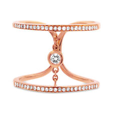 Bands Womens Statement Cocktail Right Hand Diamond Chain Ring 14K Rose Gold 2