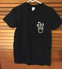 Woman's Size S 100% cotton black T Shirt with white cactus graphics