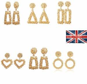 Fashion Punk Jewelry Geometric Dangle Drop Earrings Metal Statement Big Gold