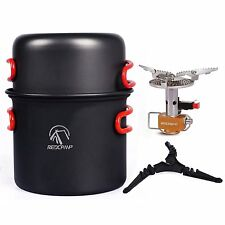 REDCAMP Outdoor Camping Cookware Stove Kit,Ultralight Hiking Backpacking Cooking