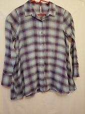FREE PEOPLE flannel shirt sz 4 small long sleeve purple blue top