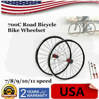 700C Ultralight Road Bicycle Bike Wheel Front Rear Wheelset Brake C/V 7-11 speed