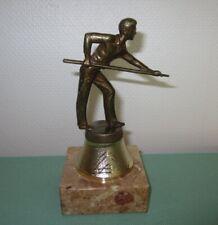 TROPHÉE Coupe récompense BILLARD   - métal couleur/bronze sur marbre - TBE