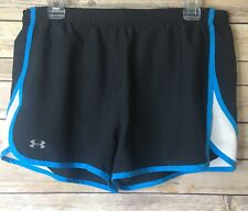 Under Armour Heat Gear Athletic Running Shorts Black Blue Sz. L C01