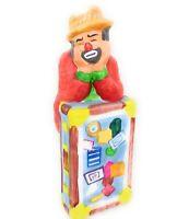 Emmitt Kelly Jr Flambro Clown Figurine with Suitcase Hobo Sad Face Porcelain