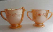 1950s glass milk jug sugar bowl basin Fire-King peach lustreware Laurel vintage
