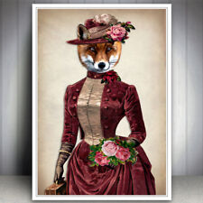 FOX VINTAGE ART PRINT DRESSED ANIMAL PICTURE VINTAGE GIFT FOR NATURE LOVER WALL