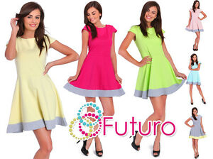 Party Skater Dress Cap Sleeve Crew Neck Cocktail Casual Tunic Size 8-12 2457