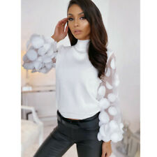 Women's Organza Stitching Splicing Puff Sleeve Tops High Neck Appliques Blouse