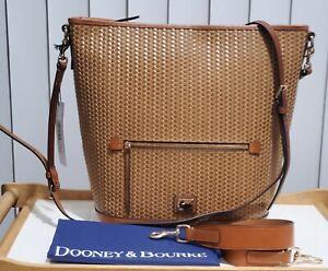 NWT Dooney & Bourke Camden Woven Leather Camel Large Hobo /Crossbody