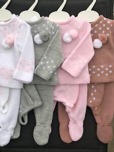 Spanish Knitted Baby Girls Boys Romper Jumper Newborn 3 Mths Hat 3 Pc Pom Pom