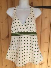 Esprit White Olive Green Polka Dot Halter Neck  Crisp Cotton Top Sz M BNWT