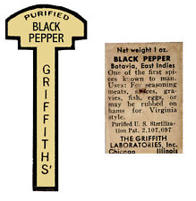 GRIFFITH JAR LABELS Sticky Paper Fronts and Backs SHORTER
